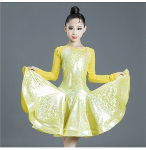 Kids light pink yellow latin dance dress stage performance salsa rumba chacha dance dress