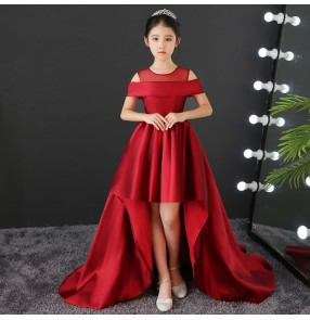 Kids model show pianist stage performance long dresses flower girls red color birthday party competition evening dresses for kids
