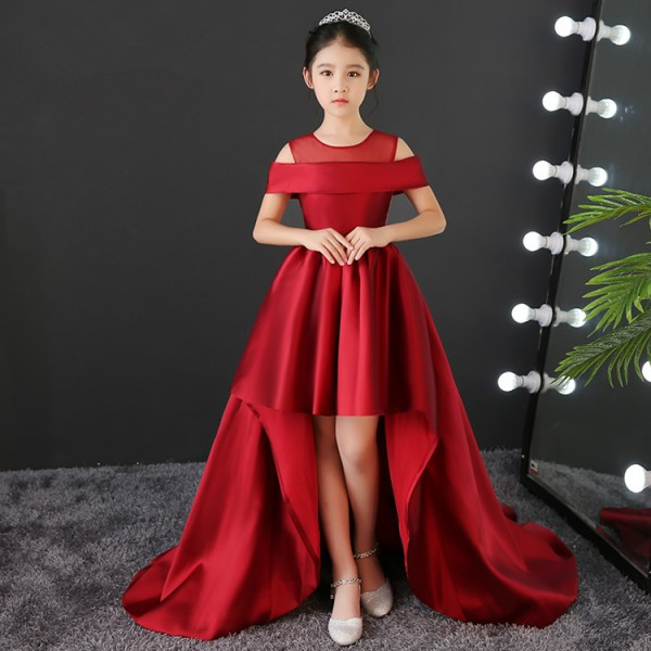 Kids Model Show Pianist Stage Performance Long Dresses Flower S Red Color Birthday Party Compeion Evening For