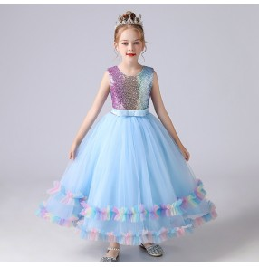 kids pink blue color pianist stage performance dresses mode show Princess dress girls birthday puffy gauze dress host solo singers stage performance costume