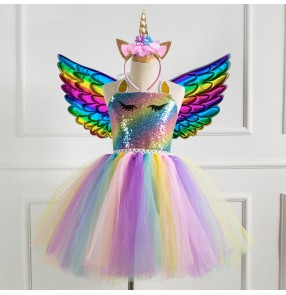 Kids princess fairy sequins performance dresses singers jazz host show performance rainbow prom angel dress with wings