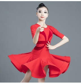 Kids red colored competition latin dance dresses salsa rumba chacha dance dresses