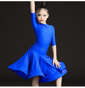 Kids royal blue competition ballroom latin dance dress for girls stage performance latin dance skirts professional latin dance costumes