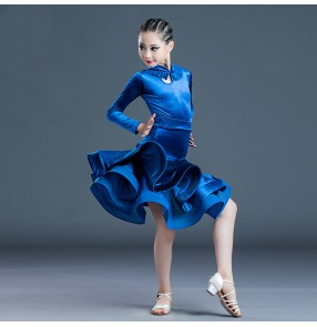 Kids royal blue velvet long sleeves latin ballroom dance dresses for girls stage performance salsa dance dress latin dance costumes for children
