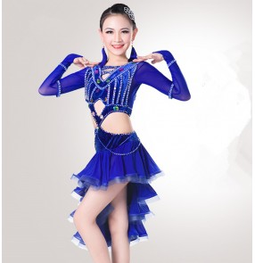 kids royal blue violet competition latin dance dresses stage performance latin salsa dance dress costumes