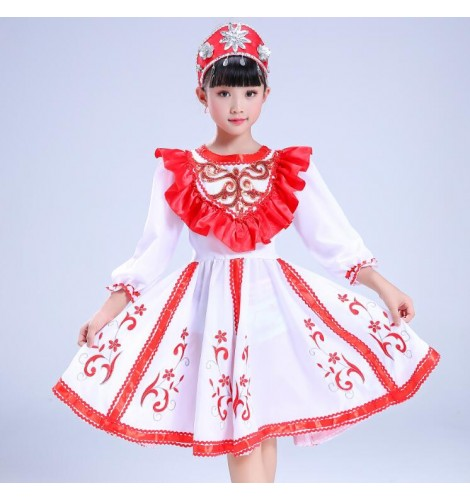 1cf4b5d2b79 Kids Russian folk dance dresses costumes red color European palace drama  cosplay stage performance competition dress
