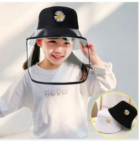Kids school anti-spray direct splash anti-droplet double layers fisherman's cap with clear face shield outdoor protective hat for girls boys
