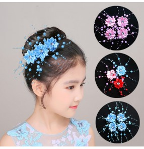Kids stage performance Handmade head flower headdress hairpin child girl tied hair beaded hair accessories 3pcs 4cm size