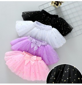 Kids star sequins modern ballet dance tutu skirts stage performance host singers glitter skirt costumes for children