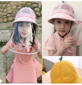 Kids summer breathable anti-spray saliva direct splash fisherman's cap with clear face shield sun protection protective hat for children