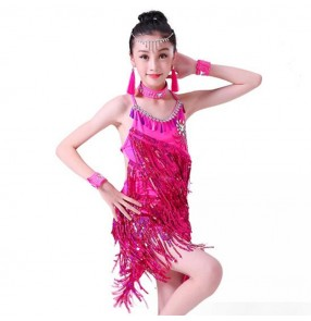 Kids tassels competition stage performance latin dresses for girls paillette pink silver salsa chacha rumba samba dancing skirts dancewear