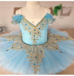 Kids turquoise little swan lake ballet dance dresses girls children ballerina classical tutu skirt ballet dance dress costumes