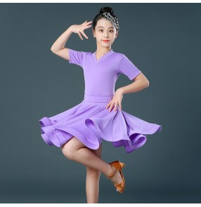 Kids turquoise wine purple latin dance dresses black red green latin dance costumes dress for girls