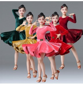 Kids velvet latin dance dress children latin dance dress competition salsa rumba chacha dance dress costumes