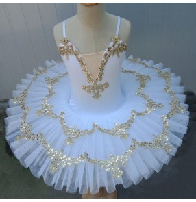 kids White little swan lake ballet dance dresses ballerina tutu pancake skirts children girls ballet dance dresses