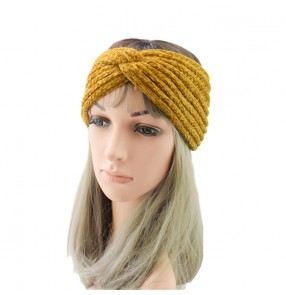 Knitted wool cross headband for women Sports headband protection Ear caps Handmade hair accessories warm corduroy headband