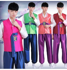 Korean clothing Men's Hanbok Adult korea costumes traditional Korean court costume dance costumes for male