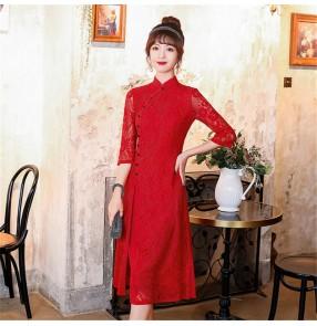 Lace chinese dresses china qipao oriental cheongsam dresses Long red slit cheongsam elegant banquet evening dress cheongsam dress