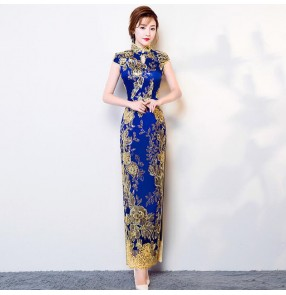Lace chinese dresses china retro qipao dress cheongsam model show stage performance miss etiquette dress