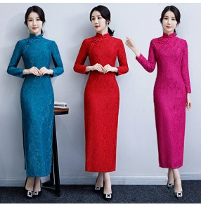 Lace chinese dresses traditional chinese qipao dresses stage performance photos banquet show performance dresses