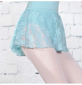 Lace dance skirt for girls kids modern dance shape training short skirt children lace short skirt girls elastic waist skirt