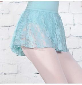 Lace dance skirt for girls kids modern dance shape training short skirt children lace short skirt girls elastic waist skirt