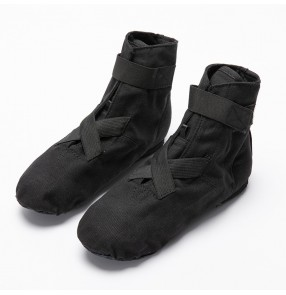 Lace-free Black canvas jazz boots high-top children velcro canvas jazz ballet dance shoes soft sole adult buckle heel jazz traing dance shoes