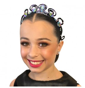 Latin ballroom competition Dance hair bling crown Hair Accessories for girls Children's Adult Competition Professional Headdress Performance Plate Hair Band