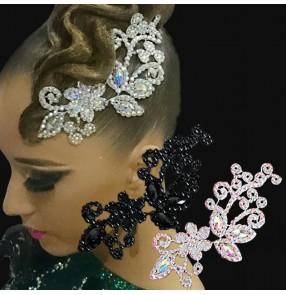 Latin ballroom Modern Dance lace diamond hair accessories for women girls White AB Color Diamond Black Embroidered Lace Bridal Headdress