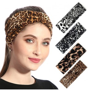 Latin dance dress competition professional leopard hair band headband for women children sweat-absorbent dance broken hair headdress