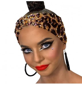 Latin dance hair band professional ballroom dance performance competition hair accessories  leopard  female dance competition headdress