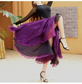 Latin dance paso double dance wrap skirts bullfighting flamenco dance apron cloak black purple tutlle performance practice competition skirt