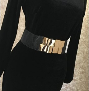 Latin dance skirt dress belt for female adult girdle golden wide elastic waistband for stage performance dress sashes modern dance dress accessories