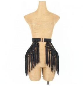 Latin dance tassels lace belt for women show retro tassel elastic waistband dance practice clothes Latin dance skirt accessories