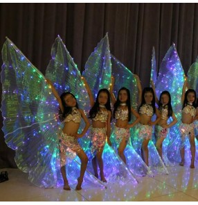 Led belly dance wings for girls kids indian queen dance girls children stage performance wing props