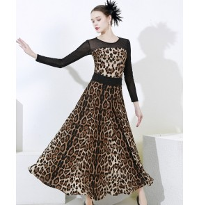 Leopard ballroom dance dress for women female stage performance black lace waltz tango dance ballroom dancing dresses for lady