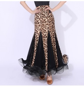 Leopard ballroom dance skirts for women waltz tango foxtrot smooth dance skirts
