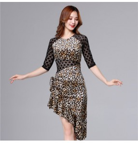 Leopard latin dance dress for women stage performance clothing  salsa chacha rumba dance dress  for female