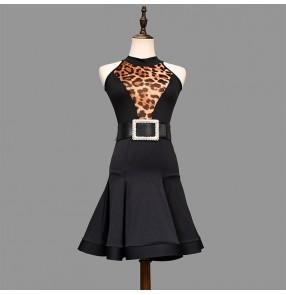 Leopard Latin Dress for women female adult fishbone skirt professional latin ballroom dance skirt competition latin rumba chacha practice dance dresses
