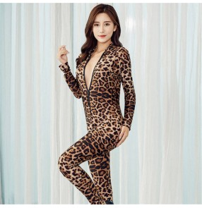 Leopard print jumpsuit full body long sleeves long legs zipper sexy tight nightclub sexy temptation underwear open crotch