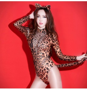 Leopard printed women's jazz dance costumes bodysuits stage performance night club dj ds pole dance hiphop gogo dancers bodysuits