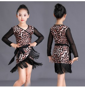 Leopard tassels long sleeves latin dance dress for girls kids salsa ballroom latin dance costumes for children