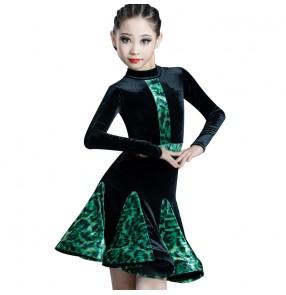leopard velvet girls kids latin dance dresses long sleeves latin dance costumes stage performance ballroom dance dress for girls