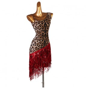 Leopard with red fringes women's latin dance dresses competition salsa rumba chacha dance costumes dresses
