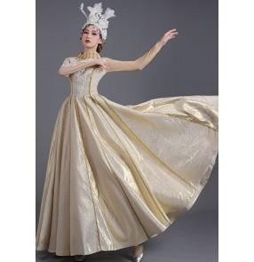 Light gold Opening dance dresses solo singers Stage dance dresses Song choir dance dress photos shooting dress for women