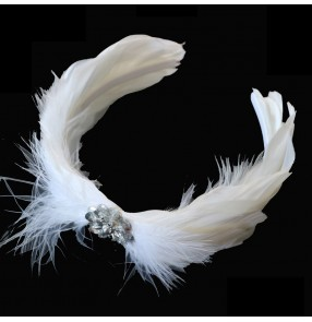 Little swan lake ballet ballerina dance white feather headdress professional classical ballet dance hair accessory for girls women