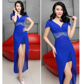 Low-cut sexy jazz dance singers long dress nightclub party sexy evening dress hotel ktv princess dress long skirt overalls