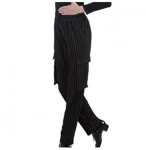 Male and female adult Latin dance pants British style vertical stripe elastic waist pocket pants national standard ballroom dance pants