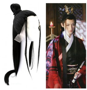 Male chinese hanfu warrior swordsman cosplay wig Ancient style men's black long straight hair wigs costume knight scholar wig cos photo video shooting  men's headgear