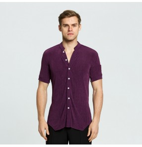 Male competition stage performance latin ballroom chacha rumba dancing shirt for men's short sleeves dark purple dance tops